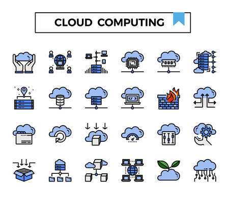cloud computing filled outline icon set. Ilustrace