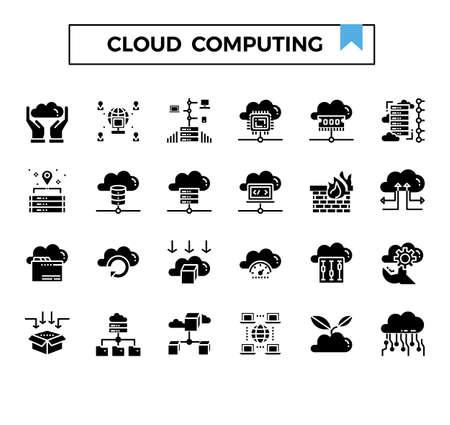 cloud computing gluph icon set. Ilustração