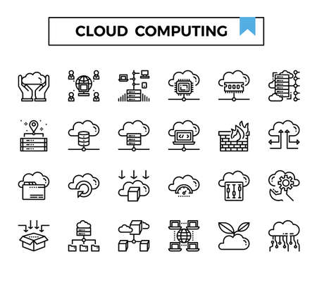 cloud computing outline icon set. Ilustrace