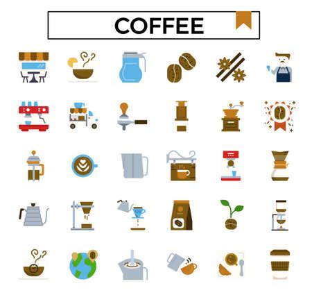 coffee flat icon set.