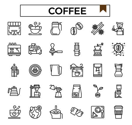 coffee outline icon set.