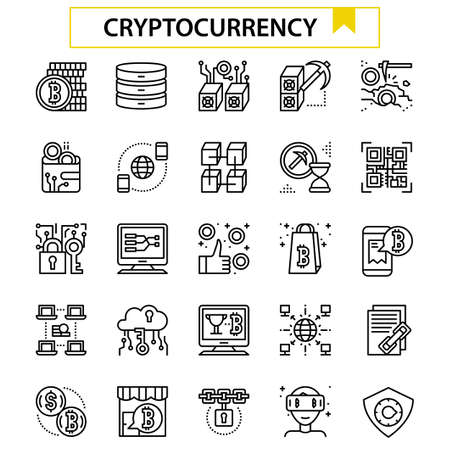 cryptocurrency outline icon set.