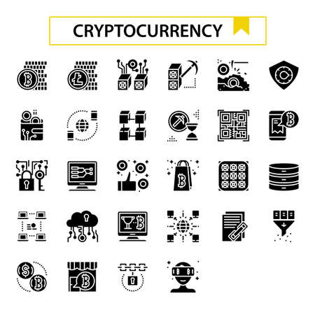 cryptocurrency glyph icon set. Ilustrace