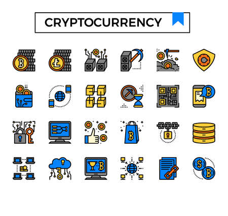 cryptocurrency filled outline icon set. Ilustrace