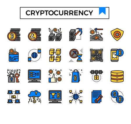 cryptocurrency filled outline icon set. Ilustração