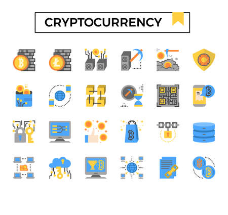 cryptocurrency flat design icon set.