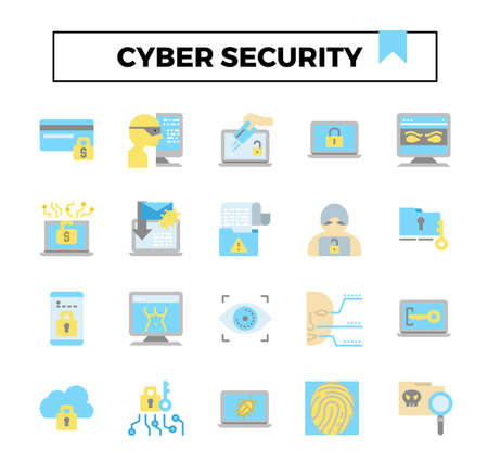 Cyber security flat icon set. Çizim