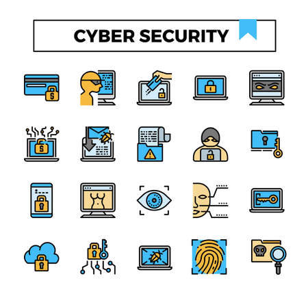 Cyber security filled outline icon set.