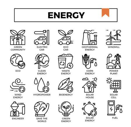 Energy outline icon set. Archivio Fotografico - 129948224