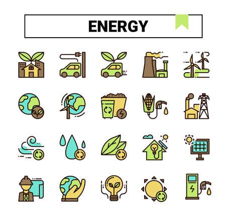 Energy filled outline icon set. Archivio Fotografico - 129948223