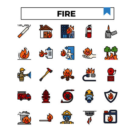 fire and firework filled outline icon set.