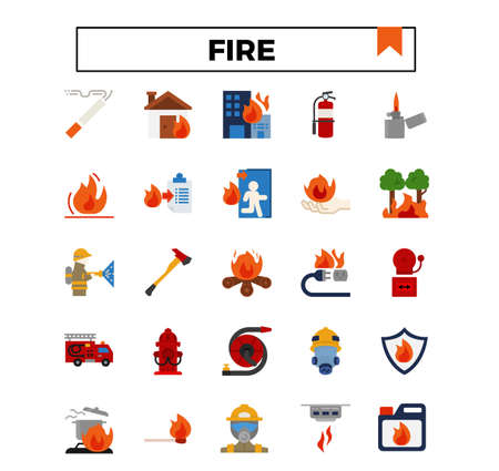 fire and firework flat icon set.