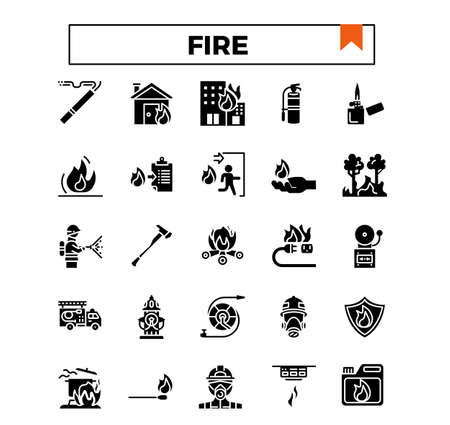fire and firework glyph icon set.