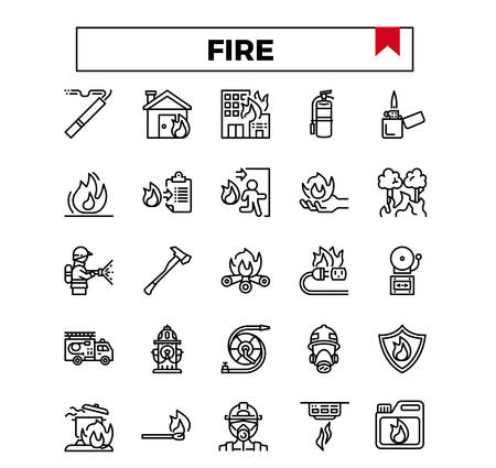 fire and firework outline icon set.