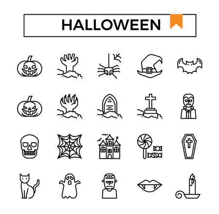 Halloween outline icon set.