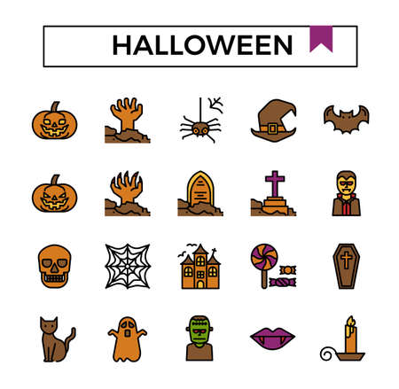 Halloween filled outline icon set.