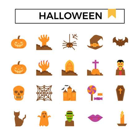 Halloween flat icon set. Ilustracja