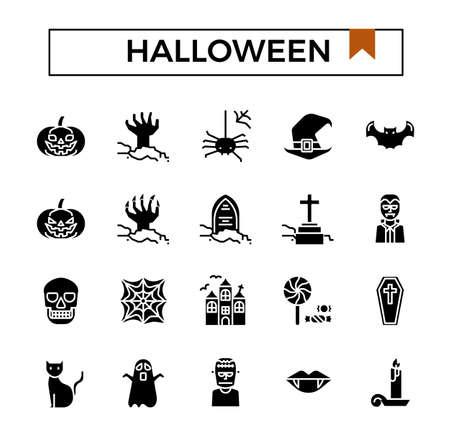 Halloween glyph icon set. Ilustracja