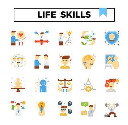 Conjunto de iconos de diseño plano de habilidades para la vida. Ilustración de vector