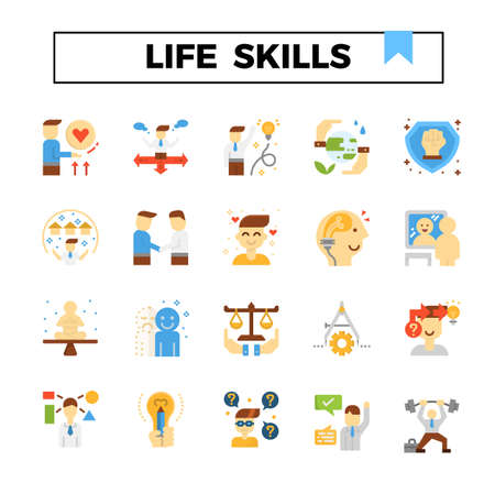 Life skills flat design icon set. Vetores