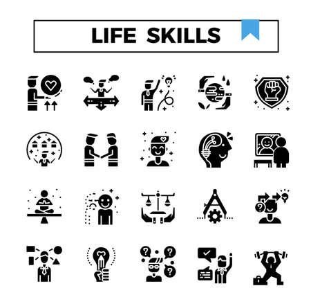 Life skills glyph design icon set.