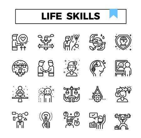 Life skills outline design icon set.