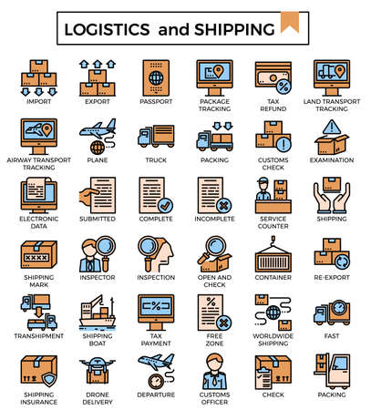 Logistics and shipping filled outline icon set. Ilustrace
