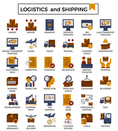 Logistics and shipping flat icon set.