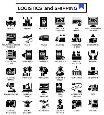 Logistics and shipping glyph design icon set.