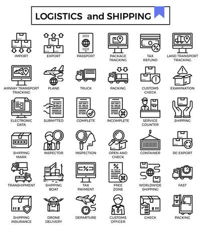 Logistics and shipping outline icon set.