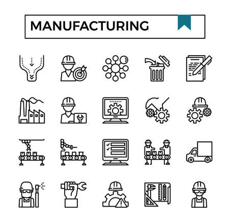Manufacturing outline design icon set.