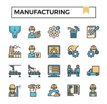 Manufacturing filled outline design icon set. Ilustrace