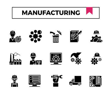 Manufacturing glyph design icon set. Çizim