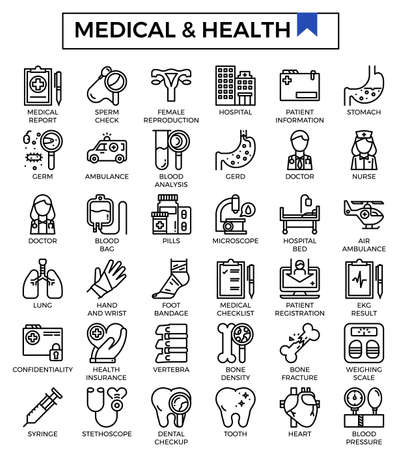 Medical and health outline icons. Imagens - 129948396