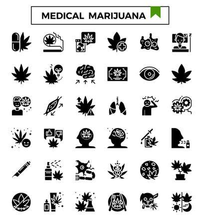 Medical marijuana glyph icon set. Ilustrace
