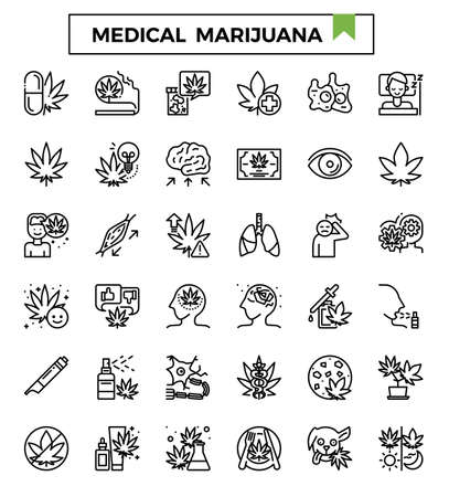 Medical marijuana outline icon set.