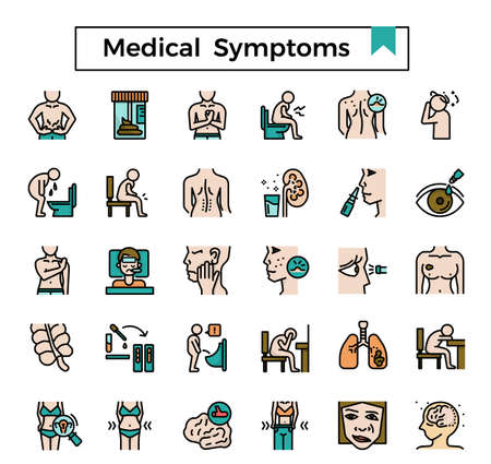 Medical symptom filled outline icon set.