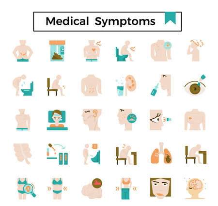 Medical symptom flat icon set.
