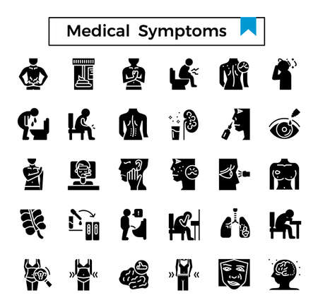 Medical symptom glyph design icon set. Stock Illustratie