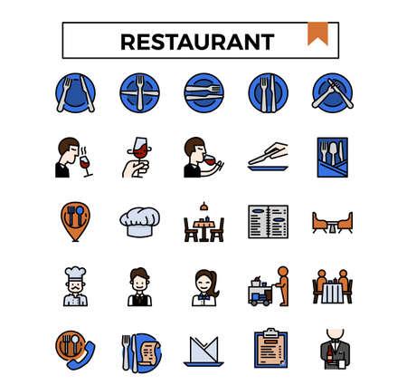 Restaurant filled outline icon set.