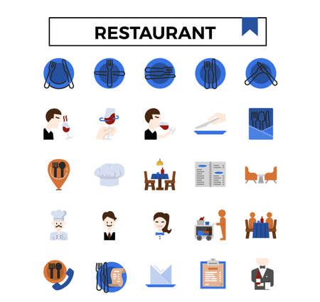 Restaurant flat design icon set.