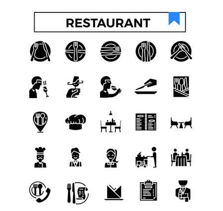 Restaurant glyph design icon set.
