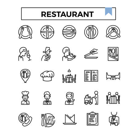 Restaurant outline icon set.