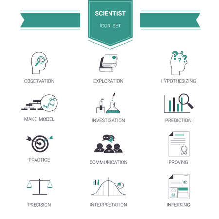 education and scientific process icon set. Ilustração