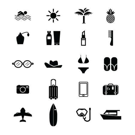 summer glyph icon set.