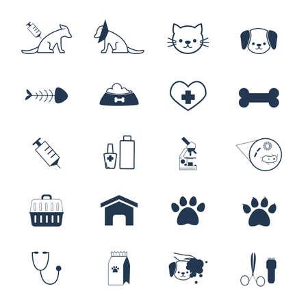 pet care icon set. Illustration
