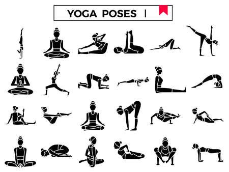 Yoga poses glyph icon set: I. Çizim