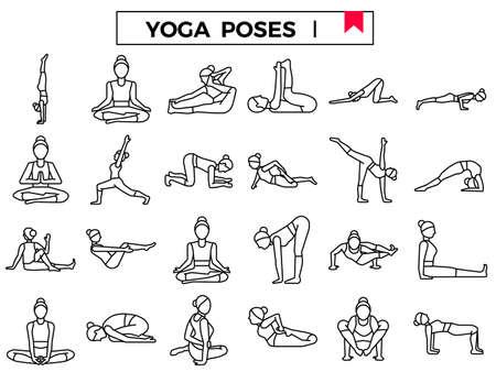 Yoga poses outline icon set: I.