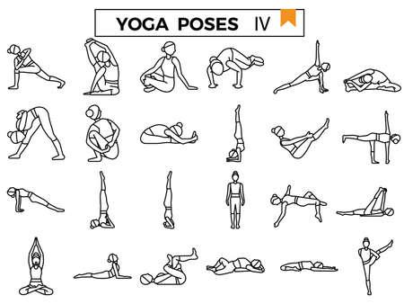 Yoga poses outline icon set: IV.