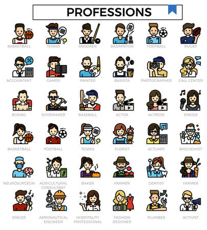 Professions filled outline icon set.
